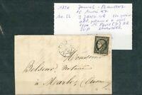 À VOS OFFRES ! [126] CERES lettre timbre n°3 3 janvier 1849 cachet rougeâtre +