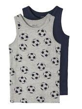 NAME IT 2er Pack Unterhemden Set dunkelblau grau Fußball Größe 86 bis 158/164