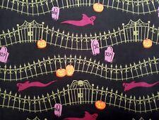 BLACK Haunted Hill Clothworks Cimitero Fantasma zucca di Halloween BORDO COTONE 1 M