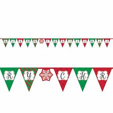 Retro Merry Christmas Flag Banner Bunting Party Decoration Red Green Snowflake