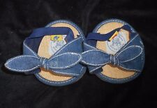 BUILD A BEAR HIGH HEEL BLUE JEAN DENIM BOW TIE SHOES / SANDALS HEELS CORK WEDGE