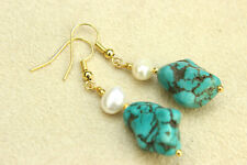 TURQUOISE Nugget & White IVORY Freshwater BAROQUE PEARL Drop Dangle EARRINGS