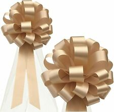"""Beige Wedding Pull Bows with Tulle Tails - 8"""" Wide, Set of 6, Christmas"""