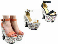 NEW WOMEN LADIES GIRLS BLOCK PLATFORM HIGH HEEL SUMMER SANDAL WEDGE SHOE SIZE3-8