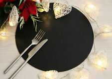 Set of 6 Classic Black Leatherboard Round Placemats - Made in UK