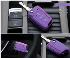 VW Volkswagen Golf MK7 Honeycomb Car Flip Key Case GTI Protection Cover Purple
