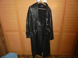 MEN'S CLASSIC OFFICER MILITARY BLACK LEATHER LONG GERMAN TRENCH COAT