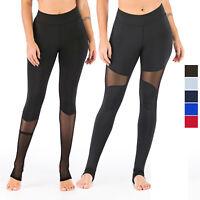 Womens Workout Yoga Leggings Mesh Barre Stirrup Tummy Control Running Long Pants