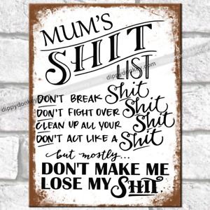 MUM'S LIST Metal Signs Vintage Rude Funny Home House Rules Retro Rustic Tin Sign