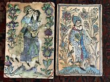 PAIR of antique Persian tiles