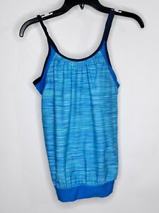 NWT Free People Swim Tankini Color Blue Adjustable Strap Gathered Elastic Bottom
