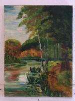 tableau ancien huile sur toile LEBRUN (XXe-s) lac avec cygne
