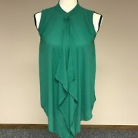 H&M Womens US Size 2 Button Front Reverse High Low Blouse Sleeveless Shirt Green