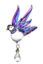 Fantasy Glass Songbird Suncatcher With A Swarovski Crystal - Purple