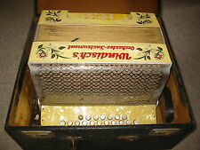 "Beautiful, old button accordion ""Windisch`s Orchester Instrument"" in C/F"