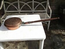 Vintage French Copper Bed warming pan heart embossed A
