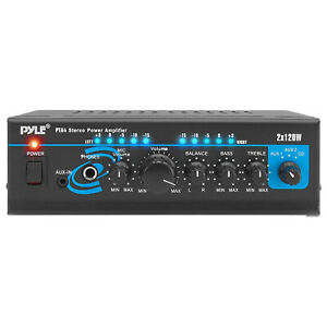 Pyle PTA4 Mini Bluetooth Home Audio 240 Watt 2 Channel Amplifier Stereo Receiver