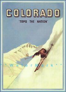 Ski Colorado 1941 Tops The Nation Vintage Poster Print Retro Art Winter Sports