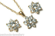 9ct Gold Blue Topaz Cluster Pendant necklace and Earring Set Gift Boxed UK Made