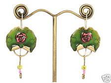 Earrings Emerald-Green Enamel w/ Pink Rose Design Brass Handmade Israeli Jewelry
