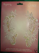 Bridal LACE TRIM*WHITE BEADED SCHIFFLI*5 1/2 IN BY 2 inch pairs NEW on card