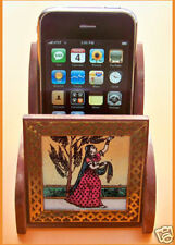universal wood cell phone holder with gem stone painting on glass from India