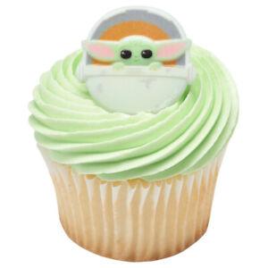 Baby Yoda The Mandalorian Cupcake Topper Rings - Set of 12