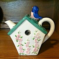Adorable Small Birdhouse Teapot With Bluebird on Roof