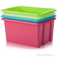 32Ltr PLASTIC STORAGE BOX & LID STACKABLE STACKING CONTAINER TUB MULTI ORGANISER