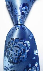 New Classic Floral Light Blue White JACQUARD WOVEN 100% Silk Men's Tie Necktie