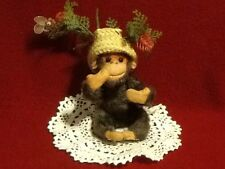 "Vintage ""Monkey With Straw Hat"" Posable Wired Arms and Legs 4"" made in Japan"