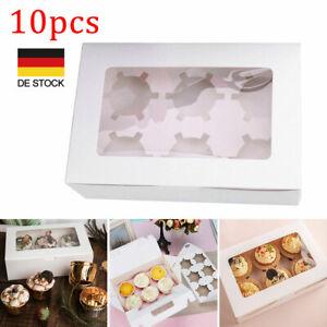 10 Stk Mini Cupcake Muffin Box 6er Aufbewahrungsbox Geschenkbox Karton Verpackun