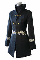 Black embroider chinese Women's cotton evening Long jacket/coat M-3XL