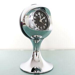 LUMEN Alarm CLOCK Mantel Vintage CHROME! Pedestal BLACK! Space Age Germany RETRO