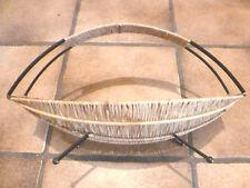 Schale Obstkorb vintage Strohgeflecht Metallbügel Golden Fifties Mid century