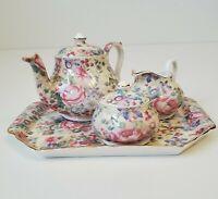 The Butchart Gardens MINIATURE Chintz Tea Set Teapot Sugar Creamer - NO 🍁 DUTY
