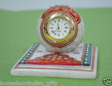 """3""""x3""""x3"""" Marble Table Clock With Stand Jaipur Floral Arts Patio Decor Gifts H692"""