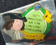 Lion's Club Commemorative 300th Anniversary Pennsylvania Sealed Enamel Pin New