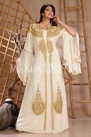 DUBAI MODERN JALABIYA ARABIAN WEDDING DRESS GEORGETTE LONG SLEEVE MAXI ROBE 3124