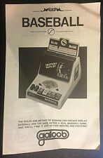 Instant Replay Baseball Game Electronic Galoob Vintage Instruction Manual