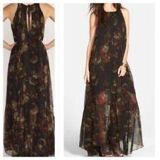 Maxi vestido floral FREE PEOPLE Juno pura Tropical Raro Negro S