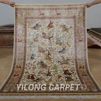YILONG 4'x6' Hunting Scenery Handknotted Silk Persian Carpet Pictorial Area Rug