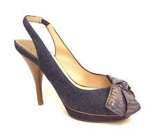 COLE HAAN Size 7.5 Blue Denim Slingback Heels w/ Bow N. Air 7 1/2