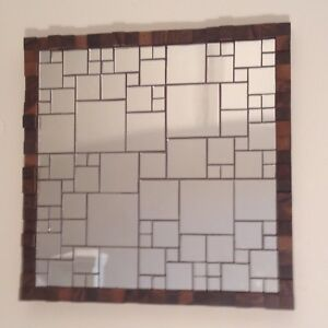 Hand-Made Mosaic Mirror Tile & Walnut Wood Block Square 3D Art Deco Wall Panel