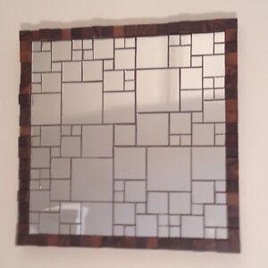 Hand-Made Mosaic Mirror Tile & Walnut Wood Block Square 3D Art Deco Wall Panel