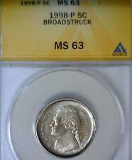 1998 ANACS ERROR MS63 Jefferson Nickel LARGE Quarter Size BROADSTRUCK Coin  NR