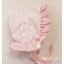 NEW Baby Girl BRODERIE ANGLAISE Pink & White bonnet / hat - SUMMER 0-18 MONTHS