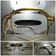 Mens Women CLASSIC VINTAGE RETRO Style Clear Lens EYE GLASSES Gold Fashion Frame