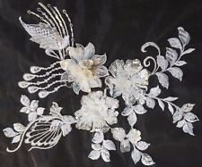 3D Bridal Ivory White Sequined Floral Embroidery Applique Motif Lace Trim EB0285