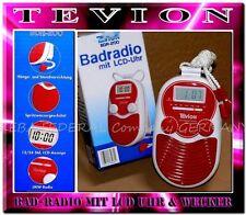 Tevion BDR200 Wasserfestes Bad Radio Wand Dusch Radio LCD Uhr Alarm Rot Weis K2